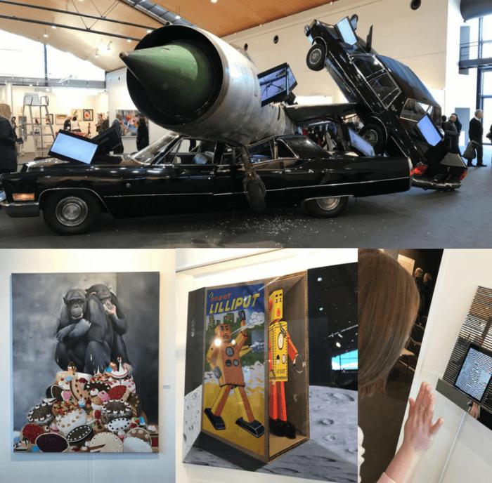Gemälde, Flugzeugcrash, Affen, Torten, 3D, digital painting auf der Art Karlsruhe