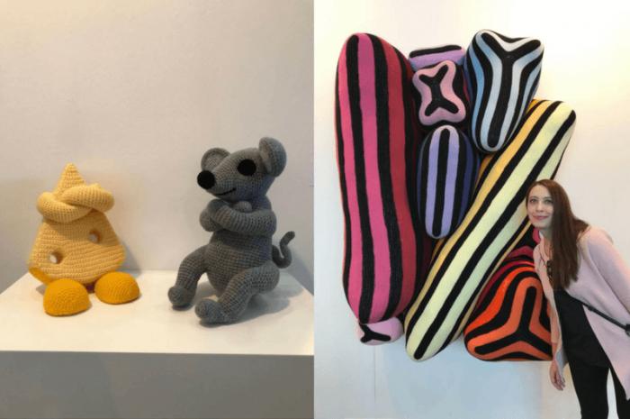 Art und Textilien, Stoff, bunt, auf der Art Karlsruhe
